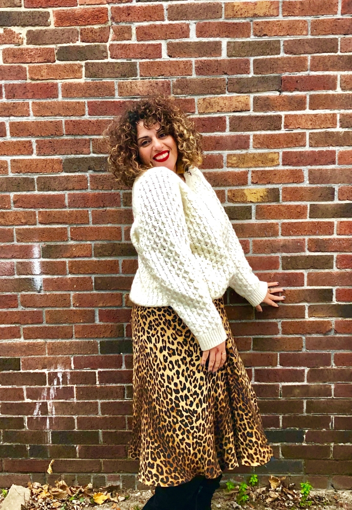 OOTD: Chunky Sweater and Cheetah Print Soft Skirt