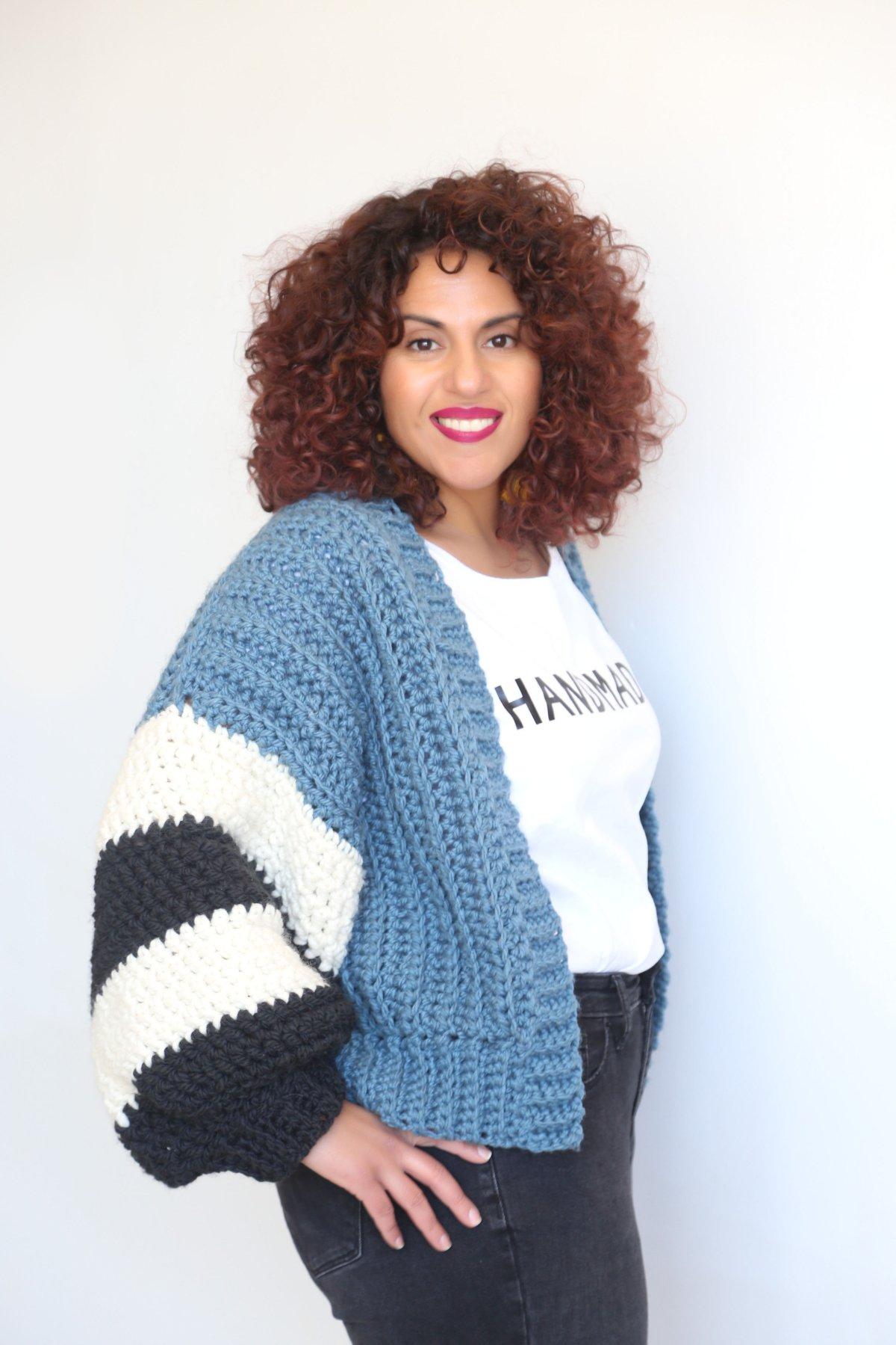 DIY Blue CrochetCardigan